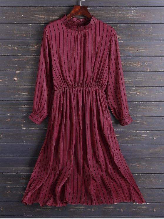 Gasa Vestido a media pierna de rayas - Rojo XL