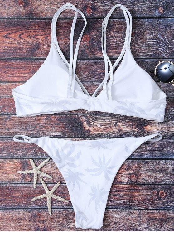 High Leg Palmtree Print Bikini Set - WHITE S Mobile