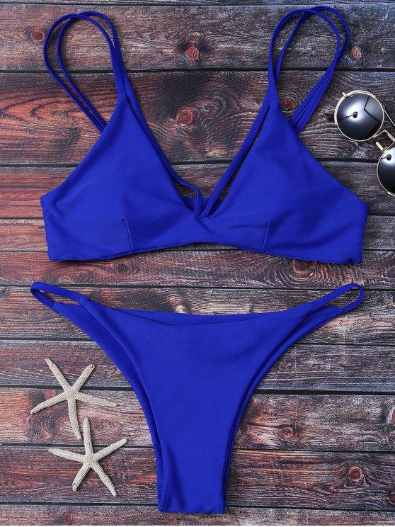 buy High Leg Strappy Bikini Set - BLUE M