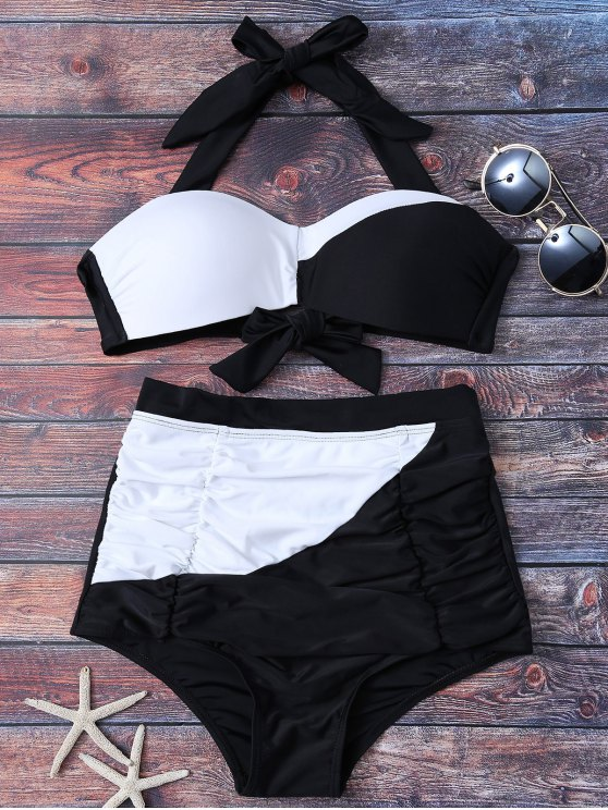 hot Color Block High Waisted Ruched Bikini Set - WHITE AND BLACK M