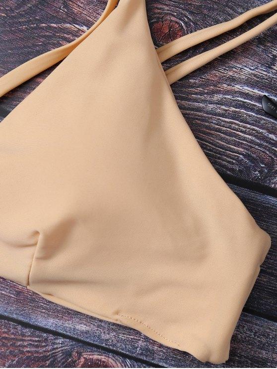 High Leg Strappy Bikini Set - APRICOT S Mobile