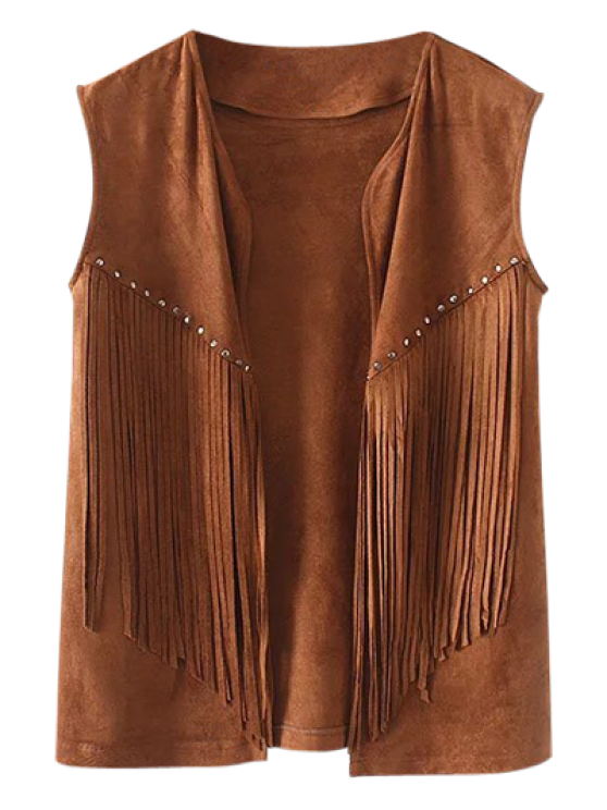 Fringe Faux Suede Open Front Waistcoat - BROWN M Mobile