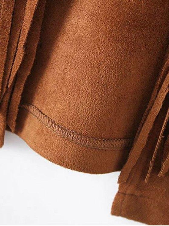 Fringe Faux Suede Open Front Waistcoat - BLACK M Mobile