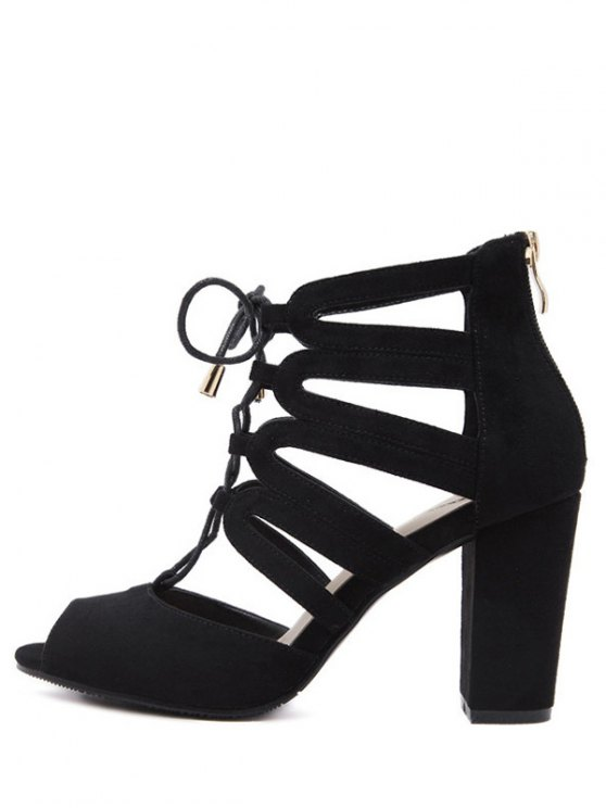 Lace Up Peep Toe Sandals - BLACK 38 Mobile