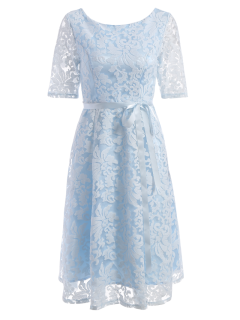Embroidered Lace Knee Length Swing Dress - Light Blue L