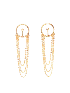 Circle Fringed Alloy Chain Drop Earrings - Golden