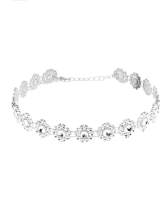 Flower Rhinestone Alloy Necklace - Silver
