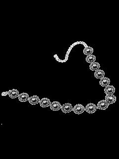 Rhinestone Alloy Floral Necklace - Black