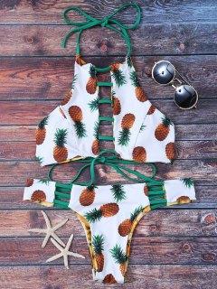 Ladder Cutout Pineapple Print Reversible Bikini - White M