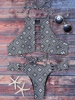 Ladder Cutout Geometric Pattern Bikini - Black S