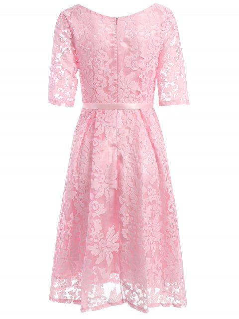 lady Embroidered Lace Knee Length Swing Dress - PINK S Mobile