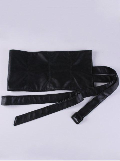 ladies Adjustable Strappy PU Leather Corset Belt - BLACK  Mobile