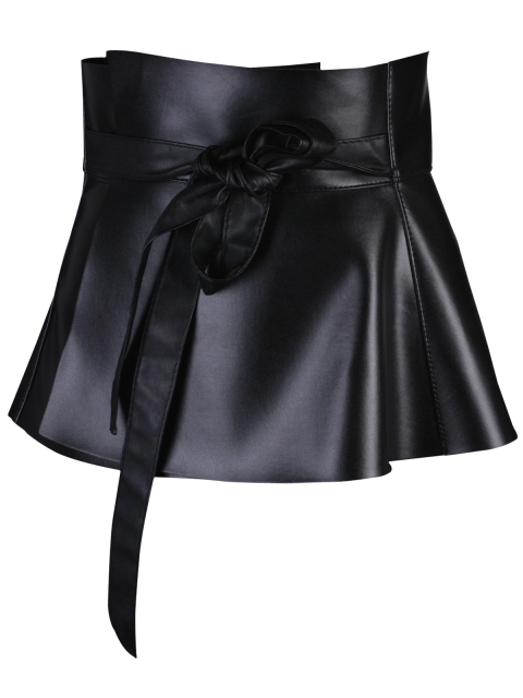 best Bowknot Long Tail PU Leather Peplum Belt - BLACK  Mobile
