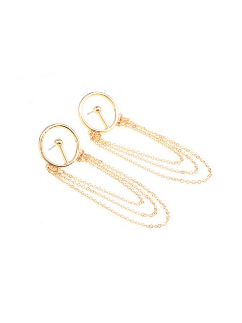 lady Circle Fringed Alloy Chain Drop Earrings - GOLDEN  Mobile