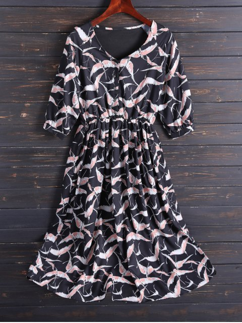 women's Printed V Neck Chiffon Midi Dress - BLACK M Mobile