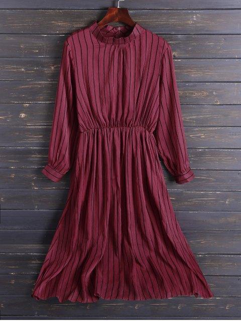 hot Chiffon Striped Midi Dress - RED M Mobile