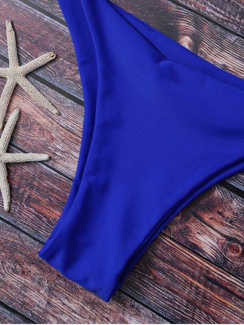 buy High Leg Strappy Bikini Set - BLUE M Mobile
