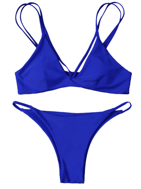 buy High Leg Strappy Bikini Set - BLUE M Mobile