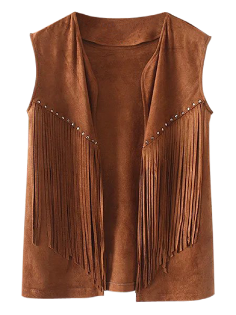 outfit Fringe Faux Suede Open Front Waistcoat - BROWN M Mobile