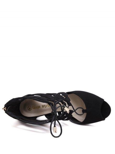 chic Lace Up Peep Toe Sandals - BLACK 38 Mobile