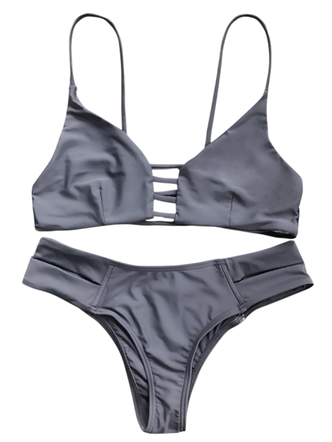 chic Caged Bandage Bikini Swimwear - GRAY S Mobile