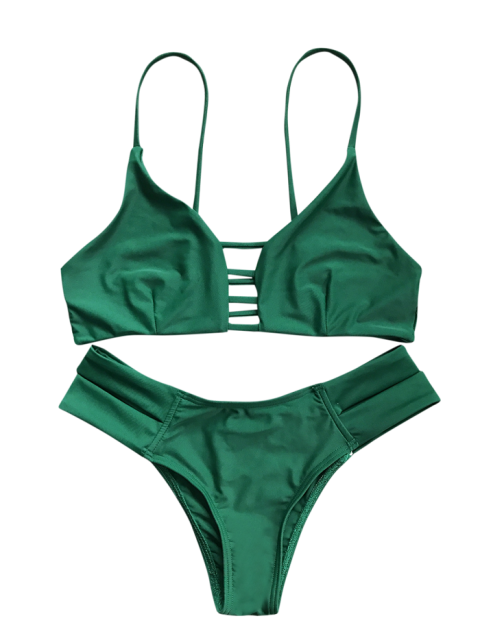 women Caged Bandage Bikini Swimwear - GREEN XL Mobile