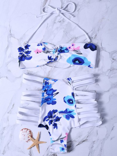 Printed High Waisted Strappy Bikini Set - White