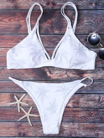 High Leg Palmtree Print Bikini Set - White