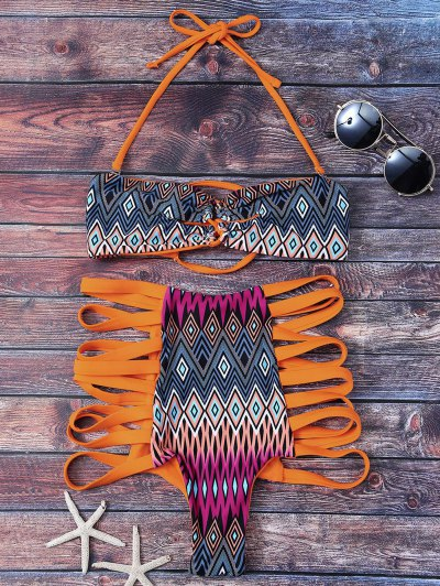 Tribal Print High Waisted Strappy Bikini Set - Orange