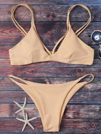 High Leg Strappy Bikini Set - Apricot