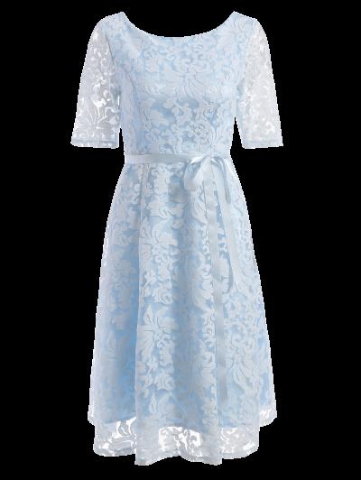 Vestido Longitud De La Rodilla Del Cordón Del Bordado - Azul Claro