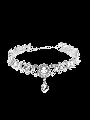 Faux Gemstone Pearl Teardrop Necklace - Silver