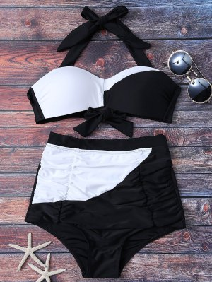Color Block High Waisted Ruched Bikini Set - White And Black