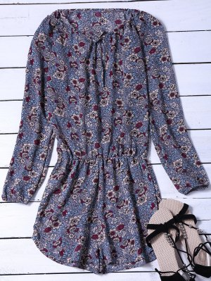 Long Sleeved Floral Print Playsuit - Blue Gray