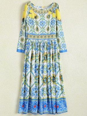 A Line Retro Print Maxi Dress - Floral