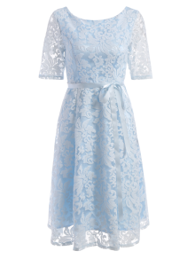 Embroidered Lace Knee Length Swing Dress - Light Blue