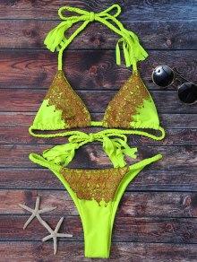 Lace Applique Braided String Bikini
