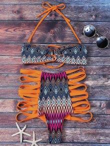 Tribal Print High Waisted Strappy Bikini Set