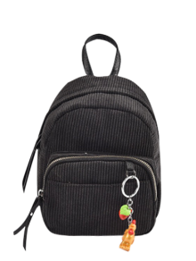 Corduroy Backpack With Pendant - Black