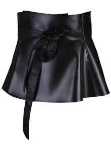 Bowknot Long Tail PU Leather Peplum Belt