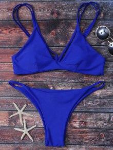 High Leg Strappy Bikini Set - Blue