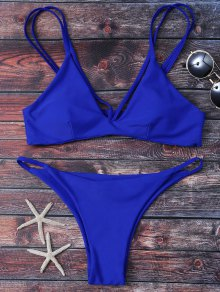 High Leg Strappy Bikini Set - Blue