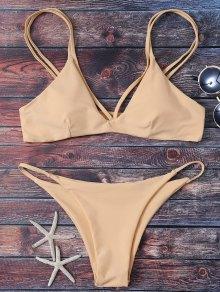 Bikini kaki taille haute col plongeant