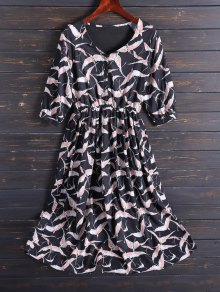 Printed V Neck Chiffon Midi Dress - Black