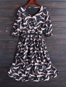 Impreso Cuello En V Vestido De Gasa Midi - Negro