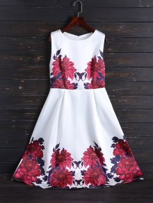Sleeveless Flower Fit And Flare Dress - White S