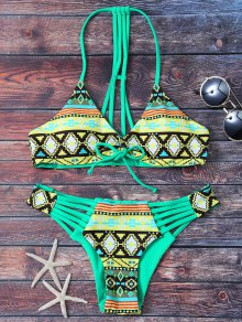 Tribal Print Strappy Bikini Set