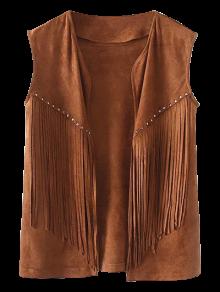Fringe Faux Suede Open Front Waistcoat - Brown