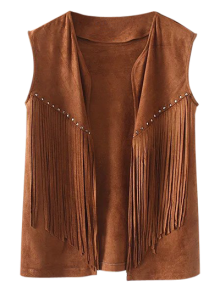 Fringe Faux Suede Open Front Waistcoat - Brown S