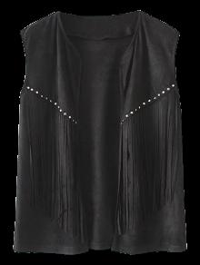 Fringe Faux Suede Open Front Waistcoat - Black